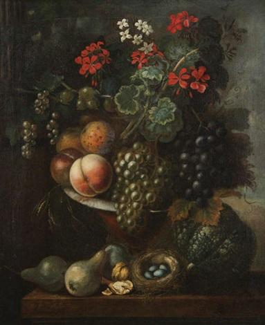 nature morte aux fleurs grappes de raisin et pêches by arnoldus bloemers
