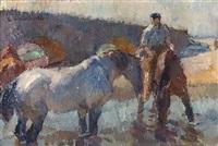 pferde in der schwemme by emanuel hegenbarth