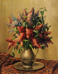 lilac in a tin vase by petrus johannes m. (piet) cottaar