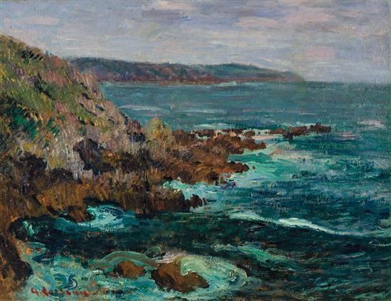 rochers dominant la mer en bretagne by gustave loiseau