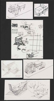 roof like a liquid flung over the plaza: handsketches (in 7 parts) by vito acconci
