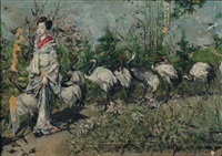 geisha followed by cranes by kenyon c. cox