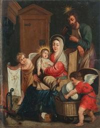 la sainte famille se réchauffant près de l'âtre, avec deux anges s'apprêtant à coucher l'enfant jésus dans un berceau en osier by erasmus quellinus the younger
