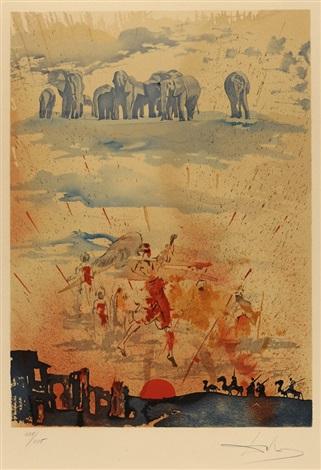composition surréaliste aux éléphants by salvador dalí