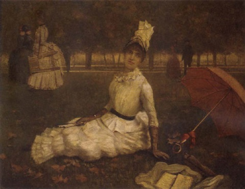 a lady with umbrella sitting in the park by symeon sabbides
