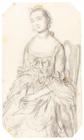 a lady seated, holding a letter (study) by thomas gainsborough