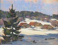 juralandschaft im winter by henry sandoz