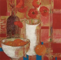 still life - poppies in a vase and oranges by david gordon hughes