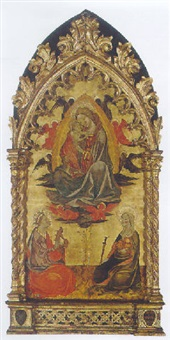 the virgin and child within a mandorla, surrounded by angels, saint catherine of alexandria and agnes kneeling below by master of borgo alla collina