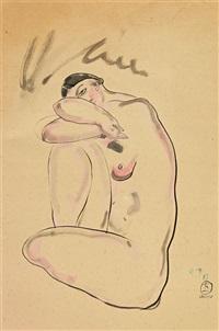 resting nude 坐著休息的女人 by sanyu