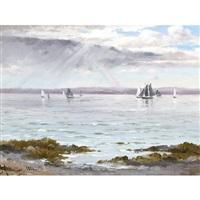 ships below a rainbow by constant auguste de l' aubiniere