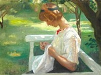 ella saxild sewing in the garden on a summer day by michael peter ancher