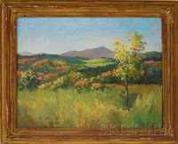 landscape view with fields, hills, and purple mountains by kyra markham