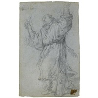 a monk turning towards the left, his arms raised (+ an angel annunciate seen in profile, verso) by giulio benso