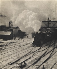 snapshot--in the new york central yards (from camera work, number 20) by alfred stieglitz