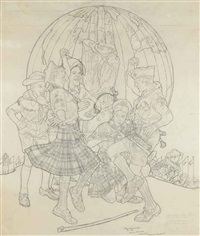 study for 'a good sign all over the world by norman rockwell