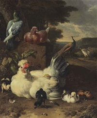 a hen, chicks, doves and peacocks beside a stone wall in a landscape by melchior de hondecoeter