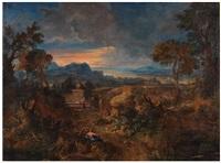 paysage romain animé de personnages by gaspard dughet
