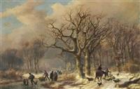 a frozen winter landscape by johann bernard klombeck