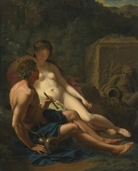 daphnis and chloe in a wooded landscape by pieter van der werff
