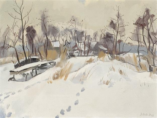 snow covered village by jan van der zee