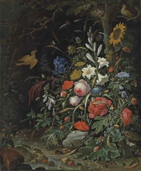 peonies, lilies, roses, poppies, a sunflower and other flowers on a forest floor, with insects, snails, mice and frogs by abraham mignon