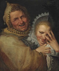 a jester embracing a young woman by frans hals the elder