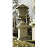 a limestone urn on rectangular pedestal (set of 7) by andrea palladio