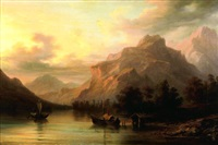 paysage lacustre avec des barques by giuseppe camino