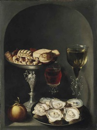 oysters on a pewter plate, sweetmeats and biscuits in a silver tazza, two façon-de-venise wine glasses and an orange in a niche by osias beert the elder