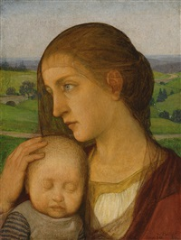 young mother with child by wilhelm haller