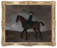 gentilhomme anglais à cheval dans un paysage de campagne animé d'une chasse à courre by peter tillemans