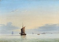 seascape with sailing ships in early morning by fritz siegfried george melbye