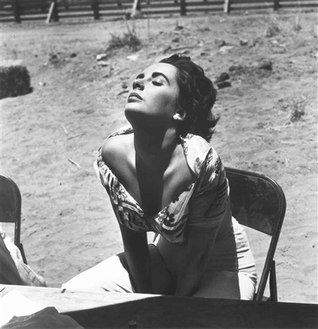 elizabeth taylor sunning herself on the set of giant marfa texas by sid avery