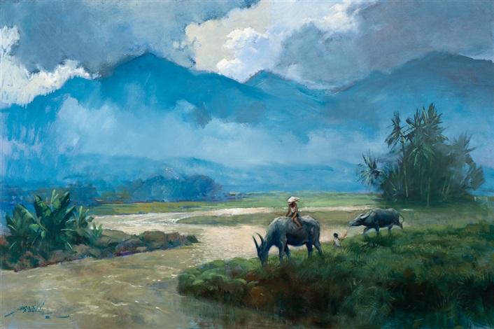 buffalos along the riverside by raden basoeki abdullah