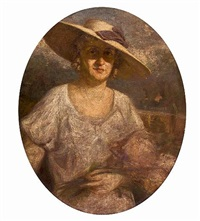 lady with straw hat by symeon sabbides
