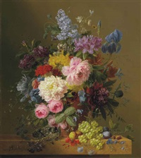 lilacs, peonies, tulips, roses, irises and other flowers with fruit and a bird's nest on a marble ledge by arnoldus bloemers