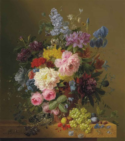 lilacs peonies tulips roses irises and other flowers with fruit and a birds nest on a marble ledge by arnoldus bloemers