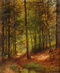 the interior of a forest by johann (jan) kautsky