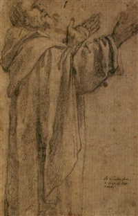 frate domenicano (study; + another study, verso) by lionello spada