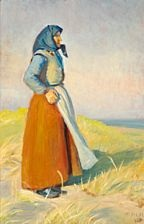 woman in a red skirt and a blue headscarf looks out over the sea by michael peter ancher