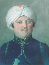 a portrait of a gentleman in turkish costume and turban by johann heinrich schmidt