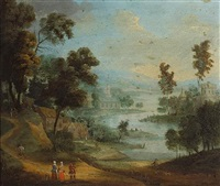 a capriccio landscape with figures conversing in the foreground by anglo-flemish school (18)
