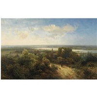 a figure in a panoramic landscape by pieter lodewijk francisco kluyver