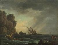 rescapés en barque près d'une côte méditerranéenne by jean henry d' arles