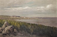 coastal landscape with a church on the horizon by nikolai alexandrovich klodt