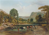 cattle watering in an extensive highland valley, with meadows and cottages beyond by samuel bough