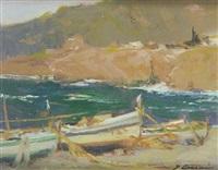 barcas varadas en la playa by joaquim asensio
