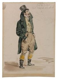 portrait charge présumé de charlet en pied, reprise du dentier en haut à droite by eugène delacroix