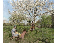 family in an orchard, playford by anna airy